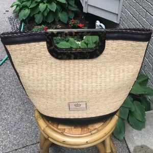 Elaine Turner wicker and leather handbag